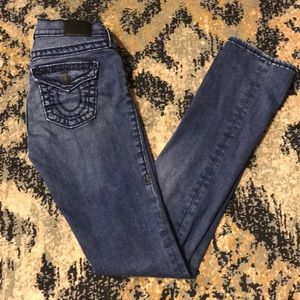 Size 25 True Religion Cora Mid-Rise Straight Jeans